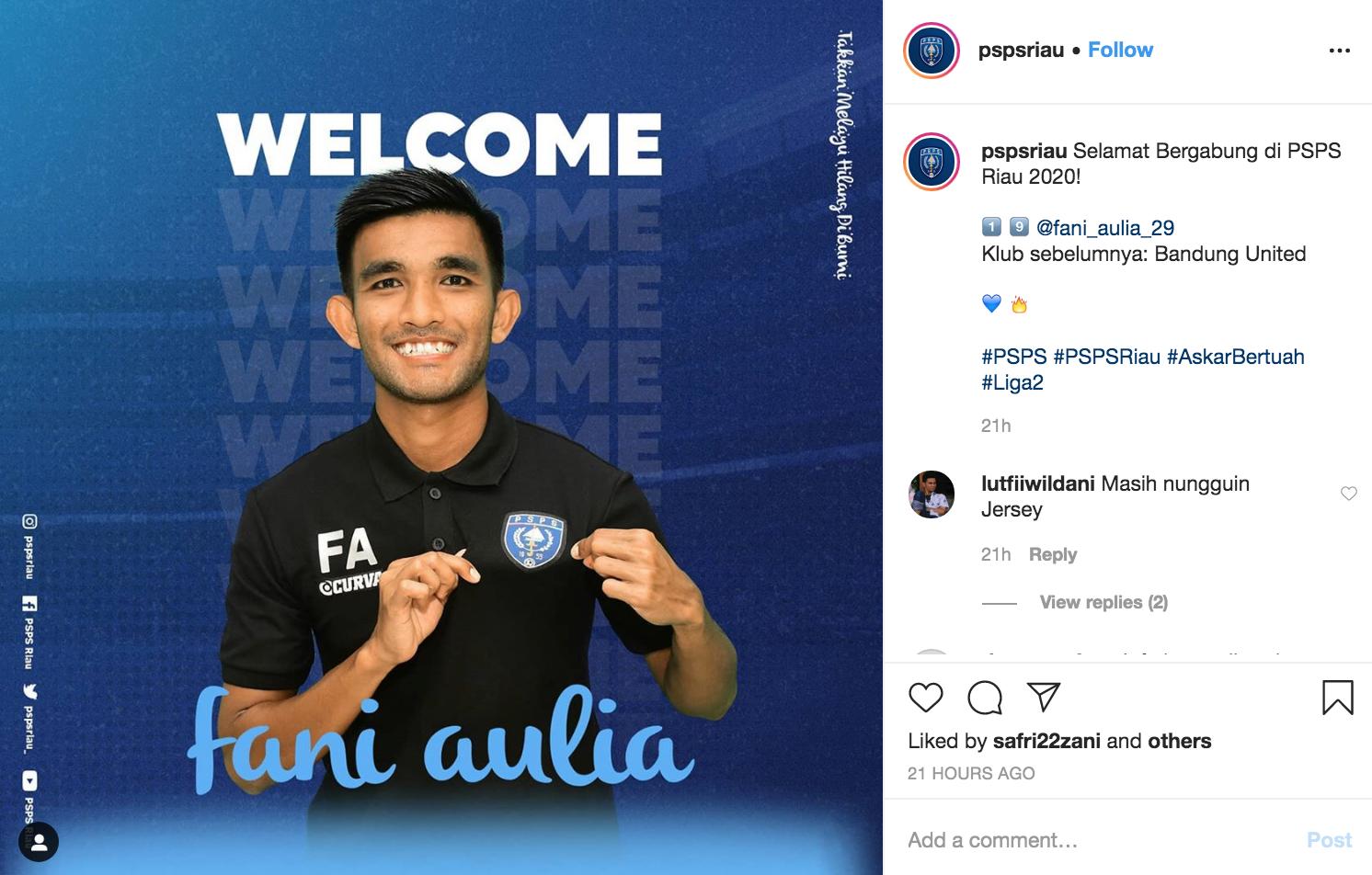Fani Aulia, mencetak dua gol di Liga 2 bersama klub barunya; PSPS   Foto SC instagram