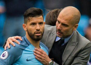 Pep Guardiola dan Sergio Aguero (kiri).