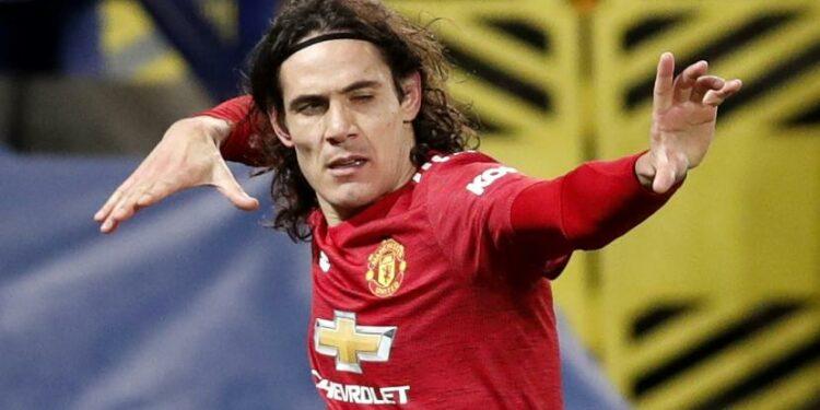 Selebrasi gol penyerang Manchester United, Edinson Cavani.