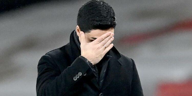 Ekspresi Pelatih Arsenal, Mikel Arteta saat the Gunners ditahan imbang, Crystal Palace.