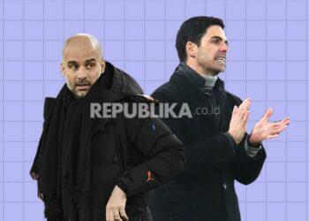 Pep Guardiola (kiri) akan beradu taktik dengan mantan asistennya Mikel Arteta dalam laga Arsenal vs Manchester City.