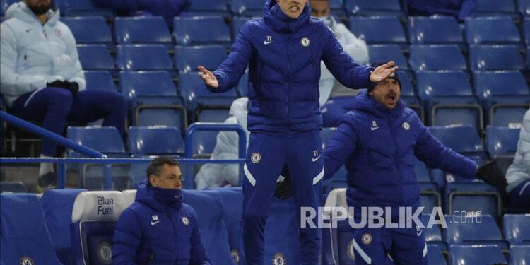 Reaksi manajer Chelsea Thomas Tuchel saat pertandingan sepak bola Liga Utama Inggris antara Chelsea FC dan Everton FC di London, Inggris, 08 Maret 2021.