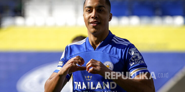 Leicester's Youri Tielemans reacted after taking the lead 1-0 during a Premier League football match between Leicester City and Arsenal FC in Leicester, English, 28 February 2021.