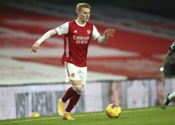 Arsenal's Martin Odegaard in action during an English Premier League football match between Arsenal and Leeds United at the Emirates Stadium in London, English, Sunday, 14 February 2021.