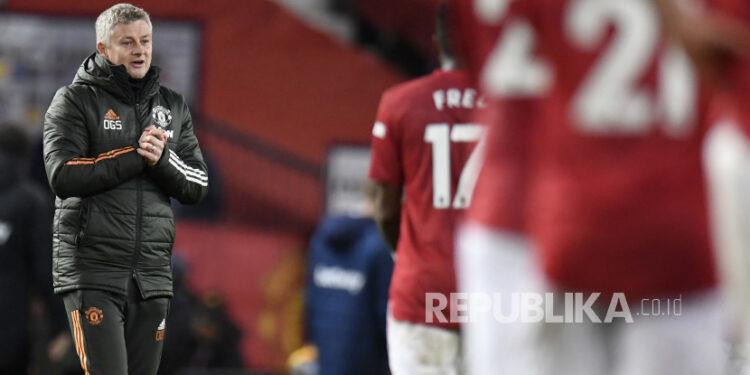 Reaksi Manajer Manchester United Ole Gunnar Solskjaer menyusul pertandingan sepak bola Liga Utama Inggris antara Manchester United dan West Ham United di Old Trafford, Manchester, Inggris, Senin (14/3).