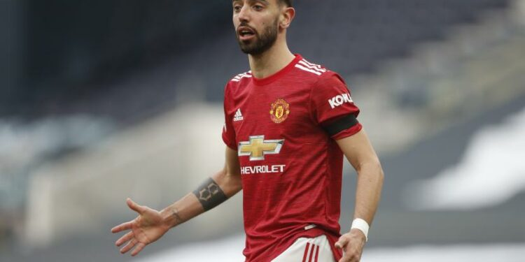Manchester United's Bruno Fernandes reaction during the Premier League football match between Tottenham Hotspur and Manchester United at the Tottenham Hotspur Stadium in London, Sunday, 11 April 2021.