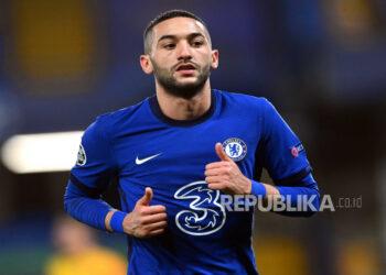 Hakim Ziyech mencetak gol kemenangan Chelsea atas Manchester City dalam laga semifinal Piala FA, Ahad (18/4) dini hari WIB.