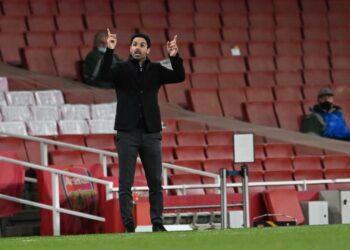 Ekspresi pelatih Arsenal Mikel Arteta.
