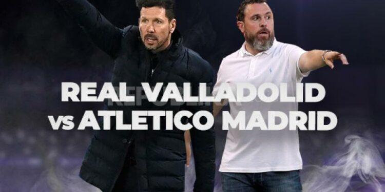 Pelatih Atletico Madrid Diego Simeone (kiri) dan pelatih Real Valladolid Sergio Gonzalez Soriano.
