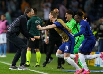Pelatih Chelsea Thomas Tuchel merayakan keberhasilan timnya menjadi juara Liga Champions