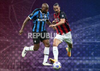 Striker Inter Milan Romelu Lukaku (kiri) dan striker AC Milan Zlatan Ibrahimovic.