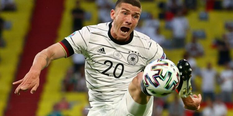 Robin Gosens of Germany in action during UEFA EURO . group stage F football match 2020 between France and Germany in Munich, German, 15 June 2021.