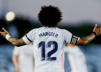 Reaksi Marcelo dari Real Madrid saat pertandingan sepak bola La Liga Spanyol antara Real Madrid melawan Sevilla di stadion Alfredo di Stefano di Madrid, Spanyol, Minggu, 9 Mei 2021.