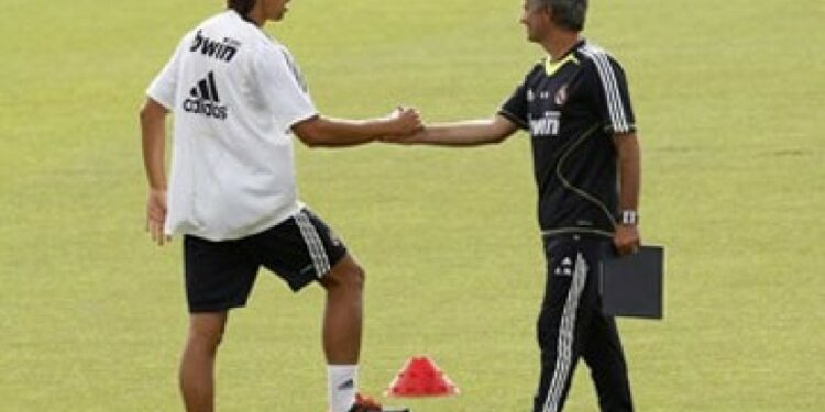 Sami Khedira and Jose Mourinho when they were both at Real Madrid.