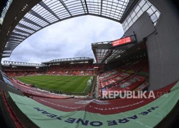 Pemandangan umum Stadion Anfield menjelang pertandingan sepak bola Liga Utama Inggris antara Liverpool dan Manchester City di Liverpool, Inggris, Minggu, 7 Februari 2021