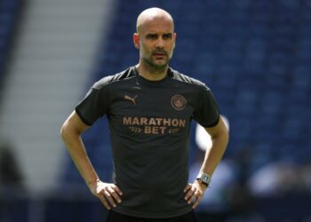 Manchester City head coach Pep Guardiola attends a training session ahead of the Champions League final at the Dragao stadium in Porto, Portugal, Friday, 28 May 2021. Manchester City and Chelsea to play Champions League final on Saturday.