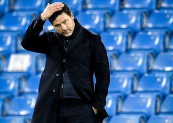 Reaksi pelatih kepala PSG Mauricio Pochettino.