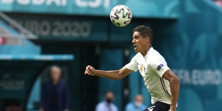 Raphael Varane of France in action during UEFA EURO . group stage F football match 2020 between Hungary and France in Budapest, Hungary, 19 June 2021.
