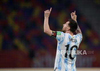 Pemain bintang Argentina Lionel Messi.