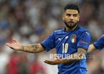 Lorenzo Insigne dari Italia bereaksi pada final UEFA EURO 2020 antara Italia dan Inggris di London, Inggris, Senin (12/7) dini hari WIB.