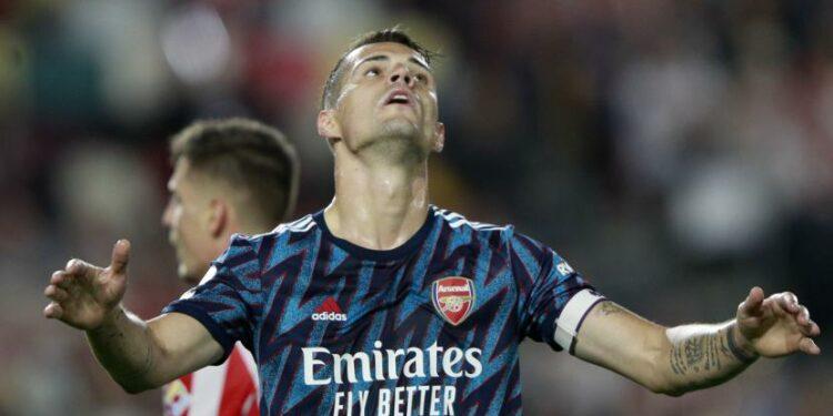 Reaksi kecewa pemain Arsenal, Granit Xhaka.