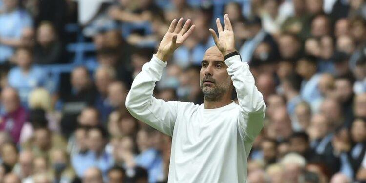 Reaksi pelatih kepala Manchester City Pep Guardiola selama pertandingan sepak bola Liga Premier Inggris antara Manchester City dan Norwich City di stadion Etihad di Manchester, Inggris, Sabtu, 21 Agustus 2021.