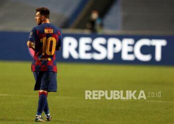 Lionel Messi saat bermain memperkuat FC Barcelona.
