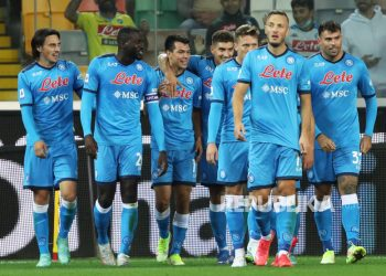 Amir Rrahmani celebrates a goal with his teammates after scoring 0-4 in the Italian Serie A football match between Udinese Calcio and SSC Napoli at the Friuli-Dacia Arena stadium in Udine, Italy, Tuesday (21/9).
