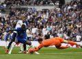 Chelsea goalkeeper Kepa Arrizabalaga makes a save as team-mate Antonio Rudiger blocks Tottenham Hotspur's Emerson Royal during the English Premier League football match between Tottenham Hotspur and Chelsea at the Tottenham Hotspur Stadium in London, English, Sunday, 19 September 2021.