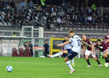Lazio striker Ciro Immobile scores a penalty against Torino.
