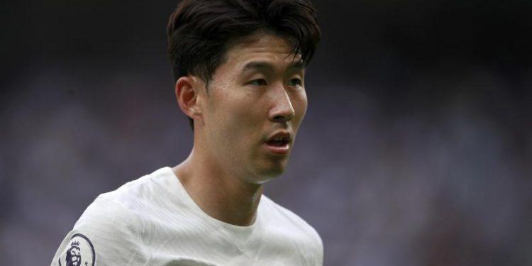Son Heung-min dari Tottenham bereaksi selama pertandingan sepak bola Liga Premier Inggris antara Tottenham Hotspur dan Manchester City di Stadion Tottenham Hotspur di London, Minggu, 15 Agustus 2021.