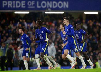 Para pemain Chelsea merayakan keberhasilan menang adu penalti atas Southampton di Piala Carabao.