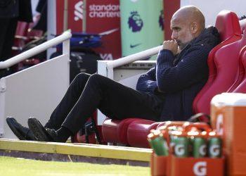 Reaksi Manajer Manchester City Pep Guardiola sebelum pertandingan sepak bola Liga Inggris antara Liverpool FC dan Manchester City di Liverpool, Inggris, 03 Oktober 2021