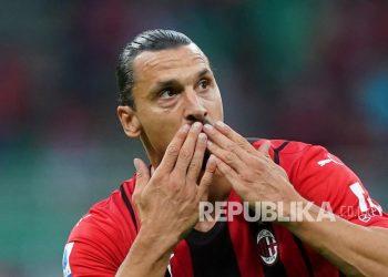 Pemain Milan Zlatan Ibrahimovic.
